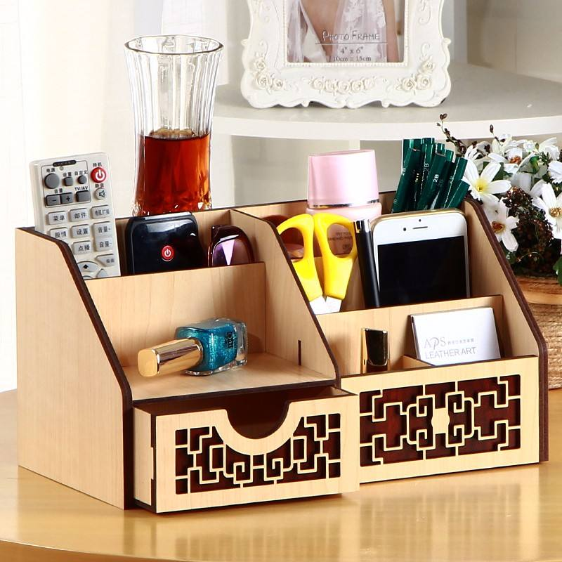 New Office Bamboo Desktop Organizer for Pen and Tablet Holder Desk Organizer storage box with box