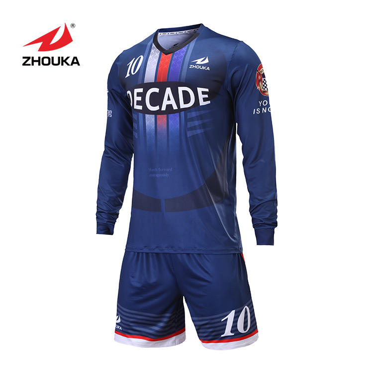 China Wholesale New Design Sublimated Fashion Long Sleeve Soccer Jersey Goalkeeper Uniform Custom Navy Football Jersey Soccer