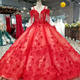 Latest Simple Crystal Pearls Sexy Red Wedding Gowns