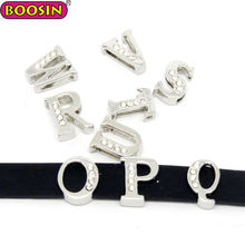 High quality silicone bracelet crystal bead charm slide letter initial charm