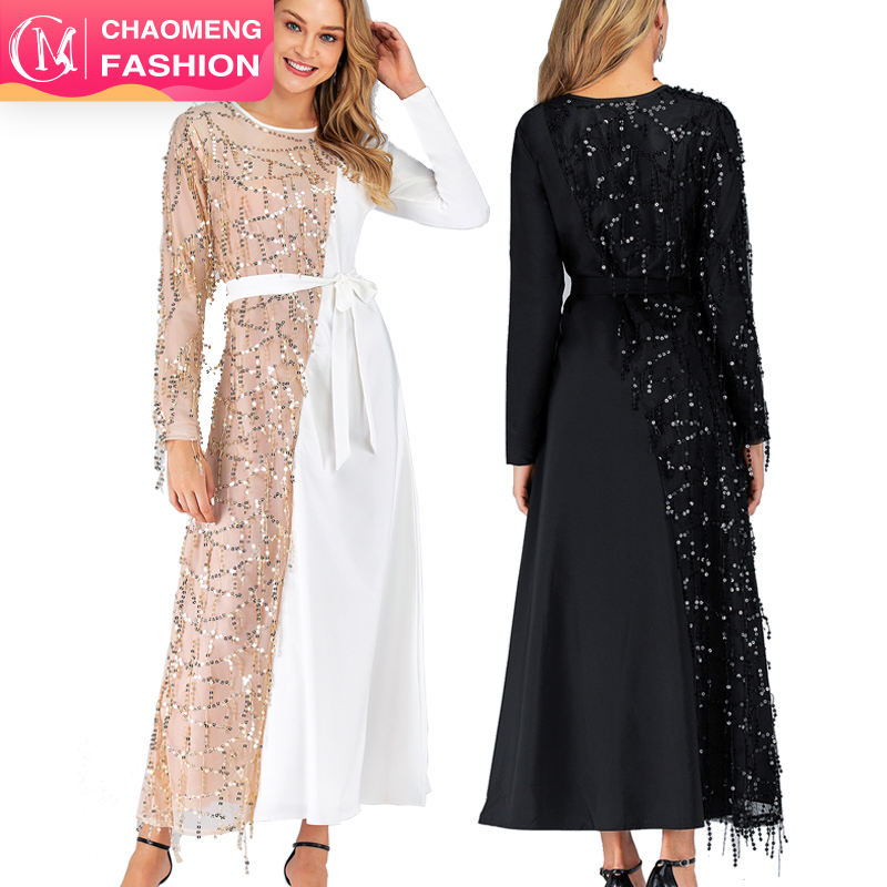 6168#new fashion maxi dresses with sequin islamic women maxi dress muslim shop online