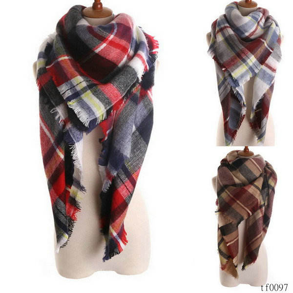 Fall womens fashion modern plaid scarves pashmina