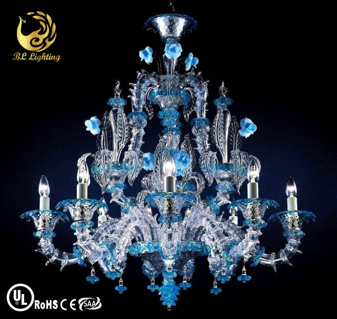 italian blue murano chandeliers indoor blown glass lights blue glass chandelier hotel decoration