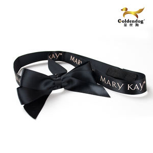 Free sample custom printed satin black elastic ribbon bow for gift box