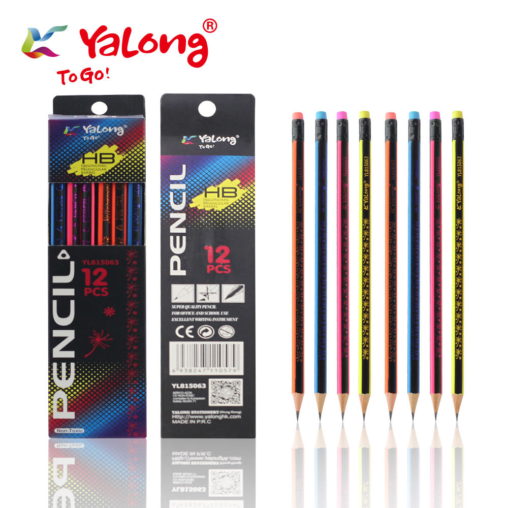 YL815063 Top Quality Poplar Wooden Customized HB Pencil Standard Pencils With Eraser 12 pcs/box