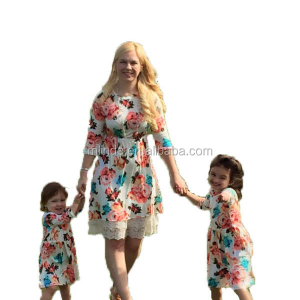 family clothes set Custom Floral Mom and Baby Outfits Dresses mother daughter matching dress