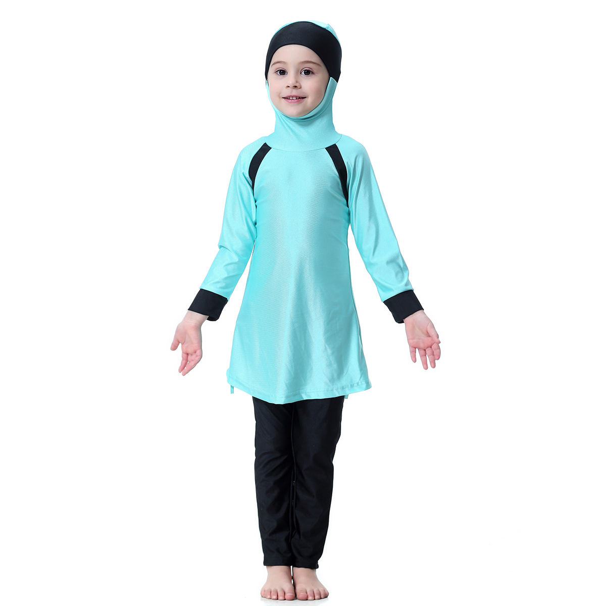 Stock 3 colors full coverage children Swimwear girls Modest Islamic Muslim Swimsuit for wholesale