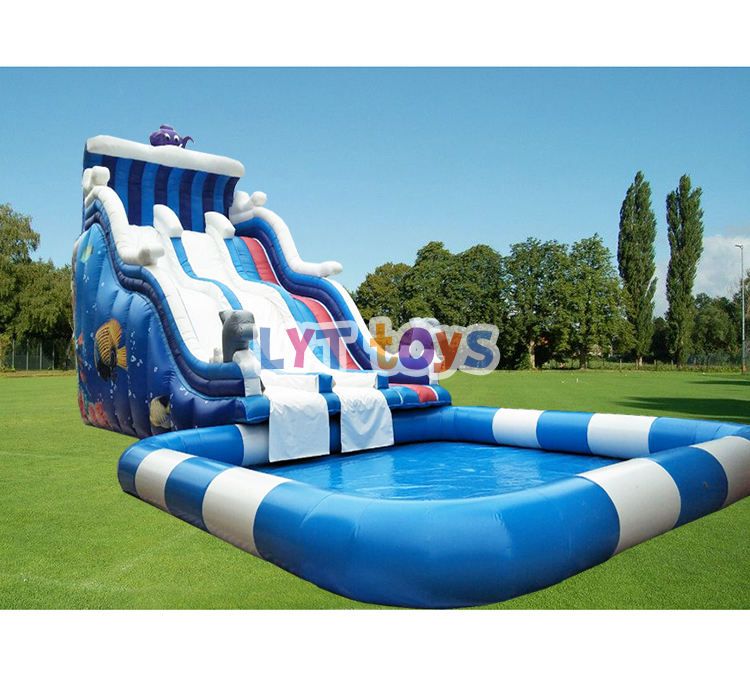 2019 hot sale commercial giant inflatable water slide with pool for sale