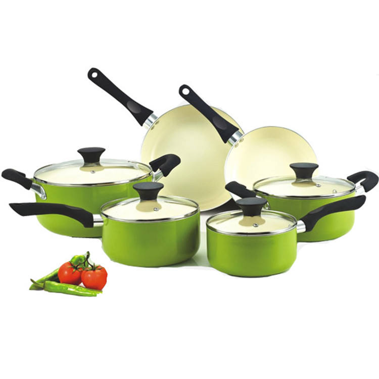 10PCS hot sale green cookware sets ceramic coating fry pan saucepan saucepot combo high quality Cookware Set factorygift sets
