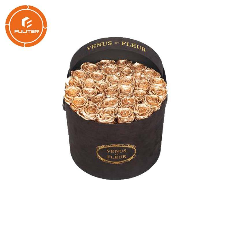 Personalize High Quality Velvet Round Hat Boxes Cylinder Suede Flower Box With Handle