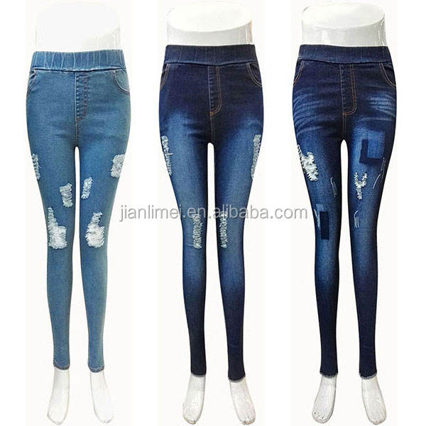Alta stretch lavato donne skinny denim jeans