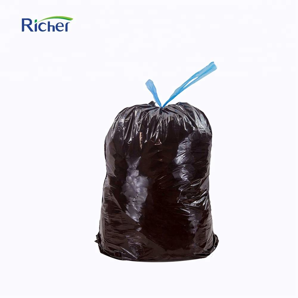 big size blue drawstring plastic trash bag garbage bag refuse sack
