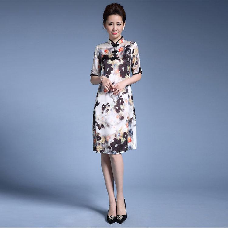 De alta calidad Sexy encaje blanco de seda Cheongsam vestido