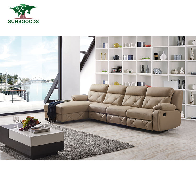 Wholesale Recliner Home Corner Leather Sofa Set, Modern Corner Genuine Leather Recliner Sofa 5 Seater Sofa Set
