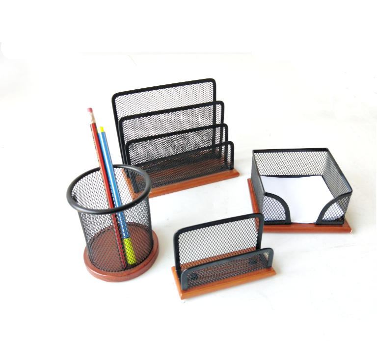 Beautiful Black Mesh Multi Compartment Desk Organizer Caddy Set With Finished Wooden Base