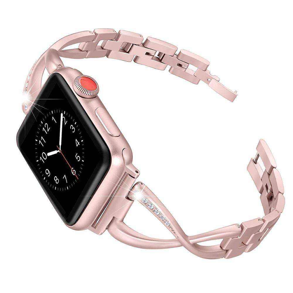 22mm 40mm 44mm Luxury Stainless Steel Rose Gold Bling Diamond Watch Band for Apple Watch series 6 5 4 3