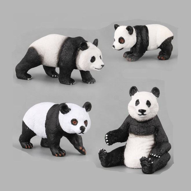 Cute Panda Family Toy Figures Zoo Animals Plastic Figurines Educational Detaild Gift Set for Kids Children