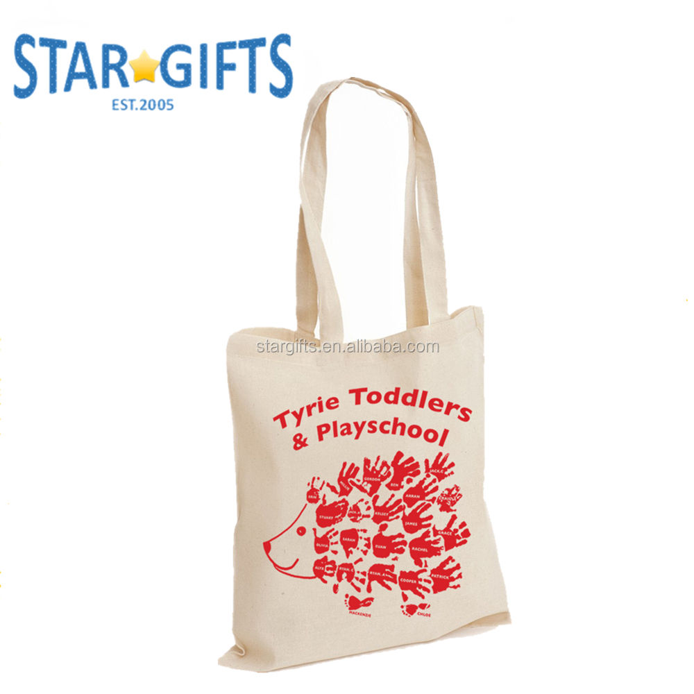 Custom One Color Logo Printing 100% Cotton Canvas Tote Bag