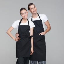 CHECKEDOUT Black long aprons customized logo adjustable chef aprons for the restaurant