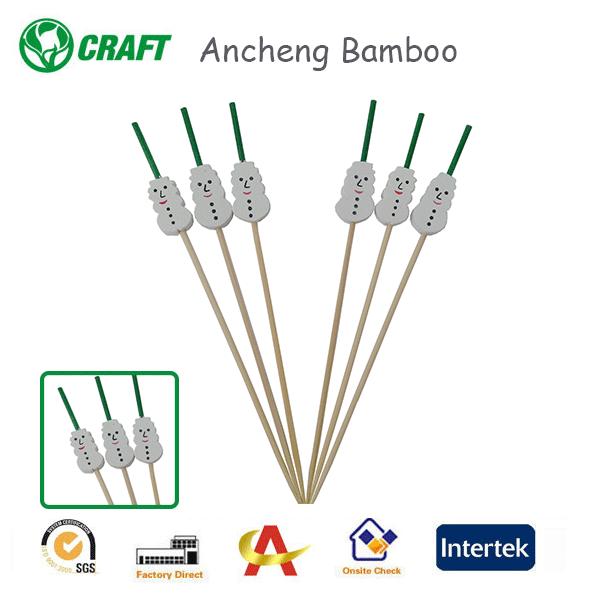Usine Directe Promotionnel Pics de Bambou Décoratifs Bonhomme De Neige Picks