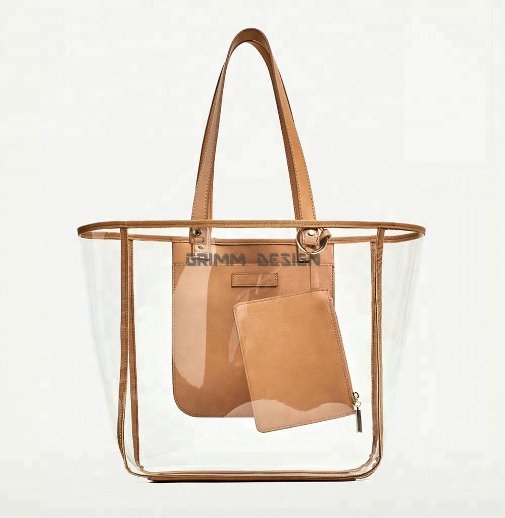 2020 candy transparent handbag with leather trim shoulder clear zippered zip jelly fashion tote PVC beach bag