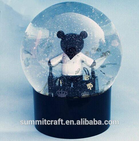 Classique ours en plastique sac antique italie souvenirs globes de neige