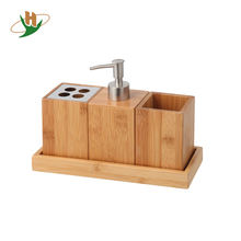 Soap Dispenser, Cup, Tooth Brush Holder with Stainless Steel--3 pcs Bamboo Bathroom Set with Tray