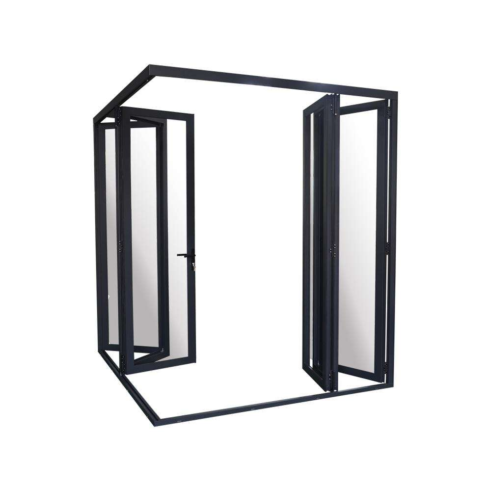 Highend thermal break double glass design insulated Accordion glass Aluminum frame Bi Fold Bifold Conner Folding Door