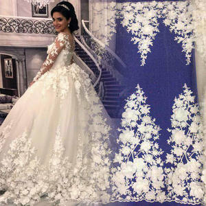 MX108 Best selling white polyester embroidery 3D flower floral beaded tulle lace fabric