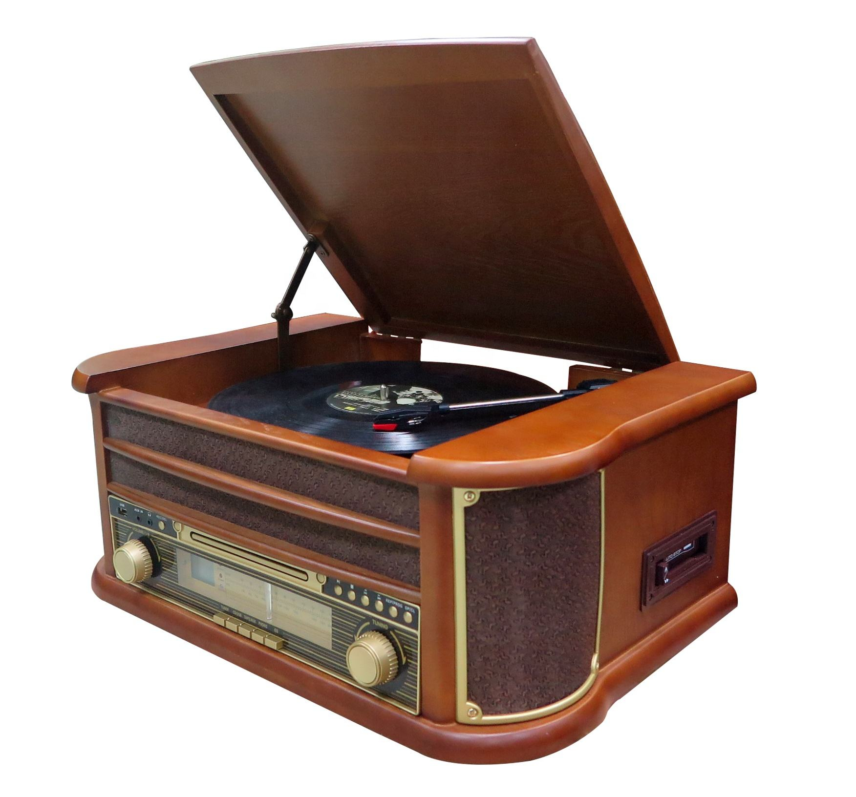 Gramophone record player speaker turntable with cassette player