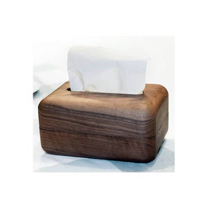 Custom solid round Wooden tissue paper box facial tissue box