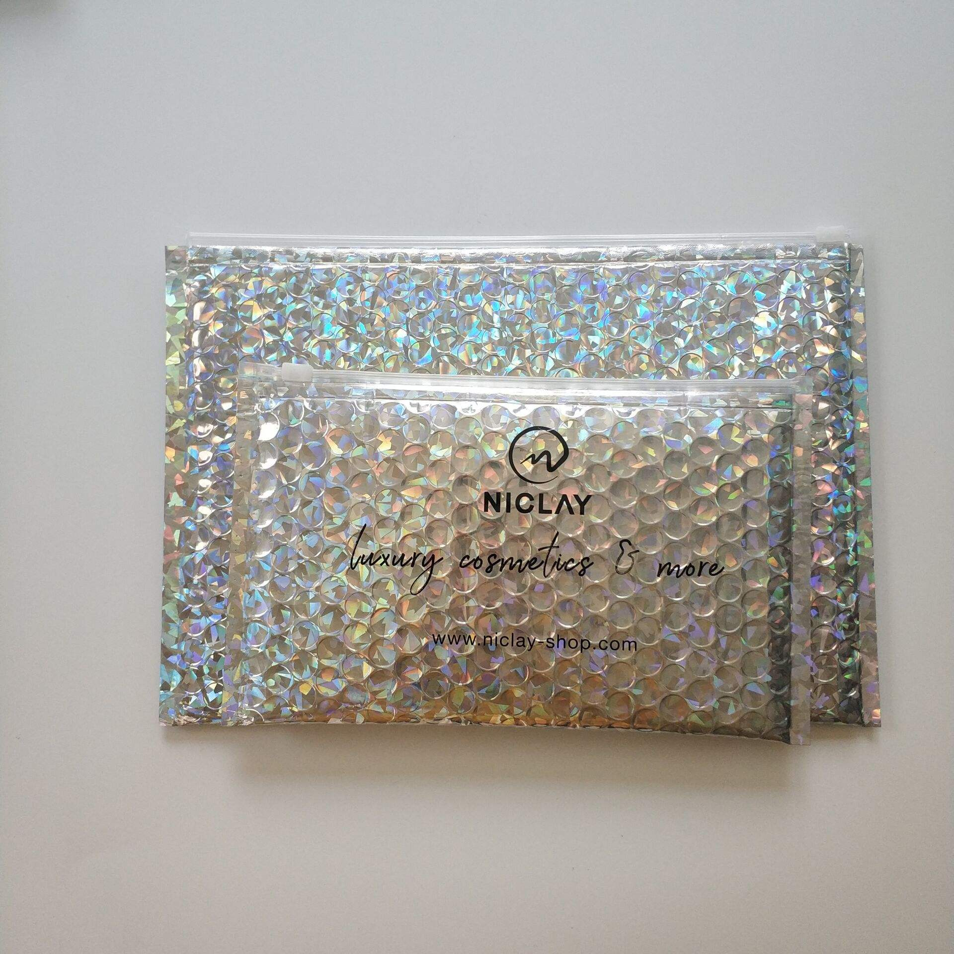 Shiny Recolsable Makeup Bubble Zipper Bag Large Slide Ziplock Pouch For Cosmetic