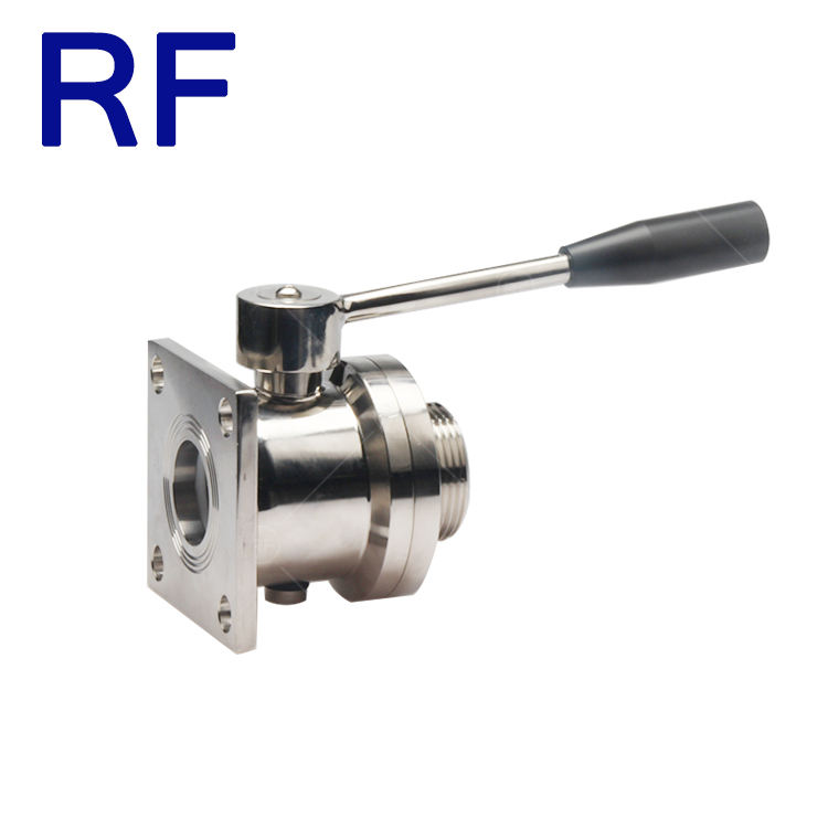 RF Manual Single Quatet Flange Single Thread Wine Ball Valve With Pull Handle