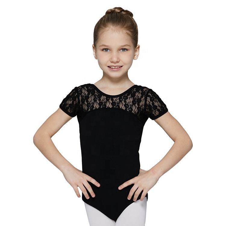 Short Sleeve Lace Black Cotton Spandex Leotard With Bow Leotard For Women Leotard