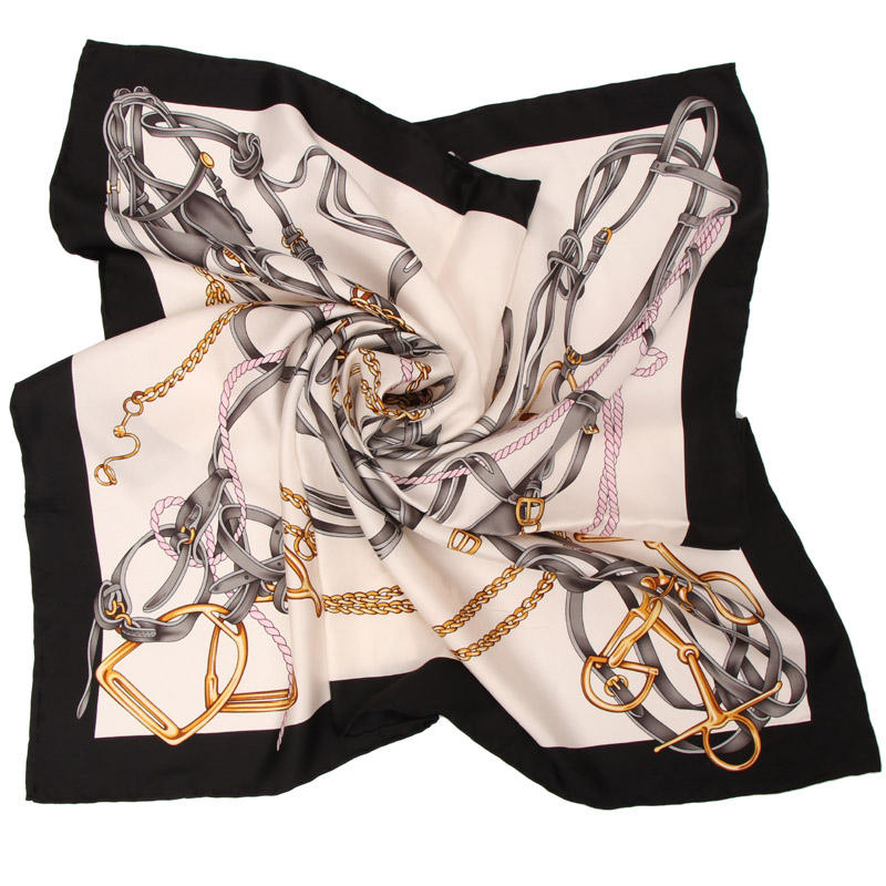 Twill Women Square Custom Print Silk Scarf