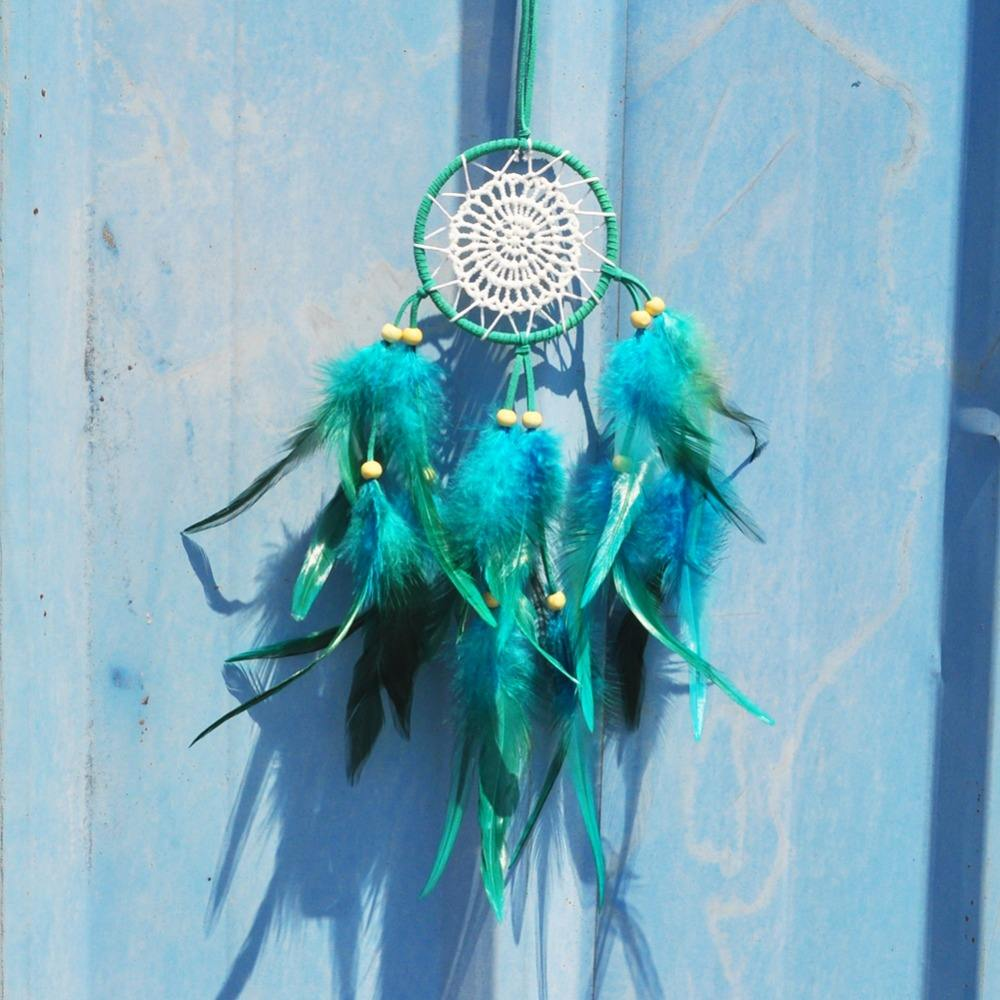 Artilady Trading Wholesale Factory Wall Hanging Green Feather Decoration Handmade Customized Dream Catcher Supplies