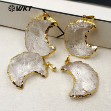 WT-P1301 Amazing ! Natural Crystal Stone Pendant Unique Design Style Pendant Gold Plated Pendant The Moon Type