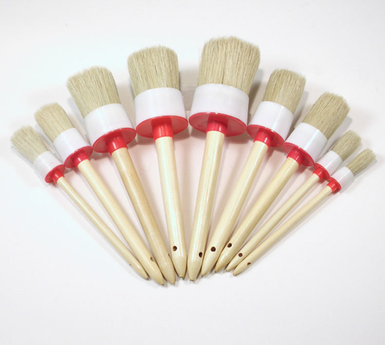 Household decorative round head paint wooden handle natural pig bristle chalk wax paint brush