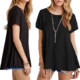Plus Size Wholesale T-shirts Spandex Ladies Women's Basic Short Sleeve Scoop Neck Swing Tunic Loose T-shirt Black