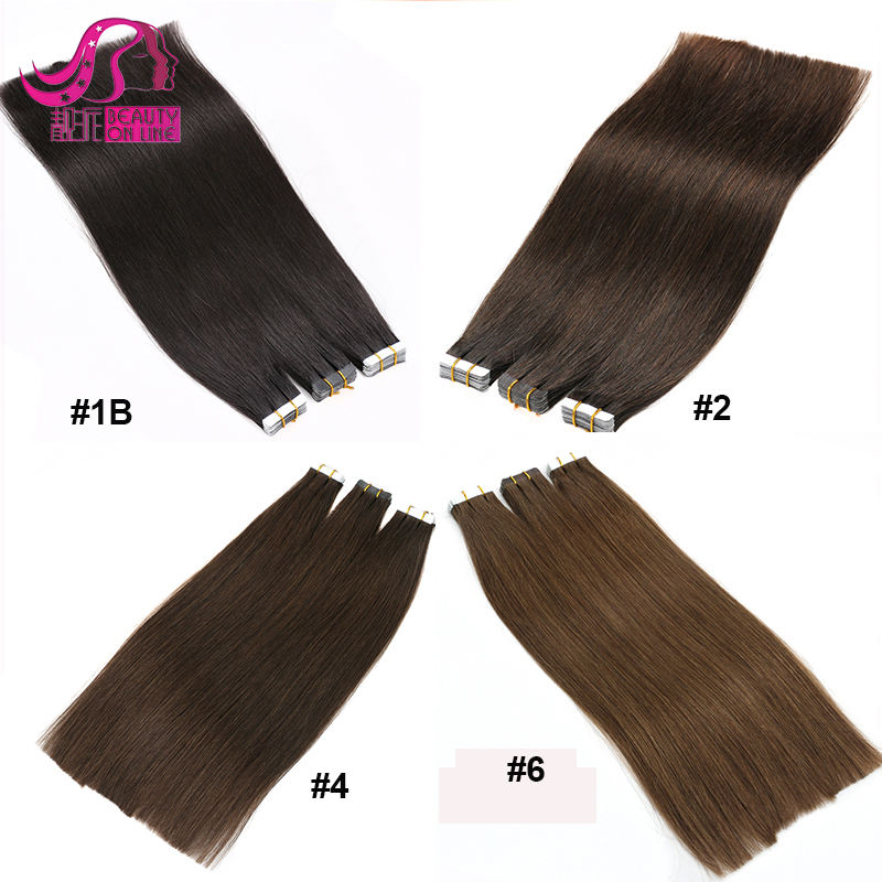 Wholesale Remi 100 Percent Human Hair india human hair extensions Double Drawn Virgin Remy Russian Cuticle Tape Hair Extensions