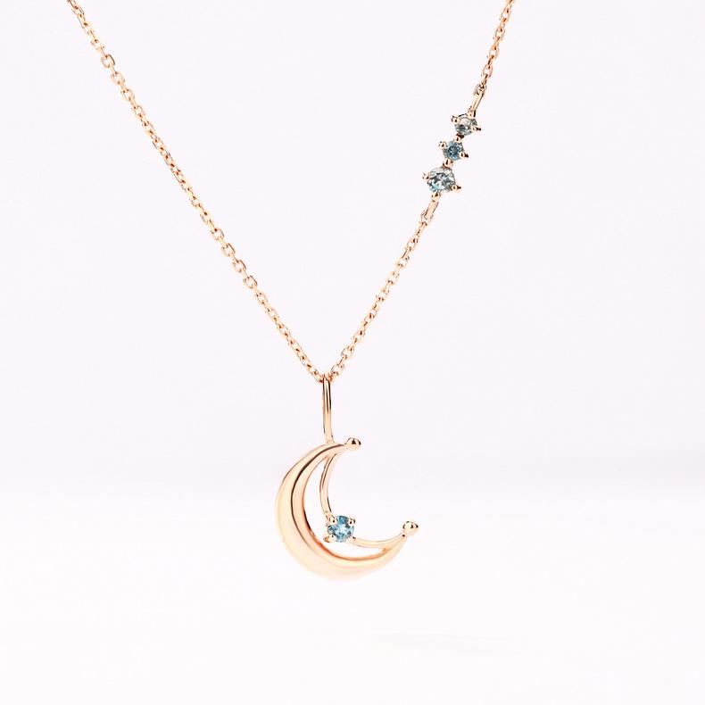Ladies gold jewellery london blue topaz crescent moon necklace Real 14k gold necklace