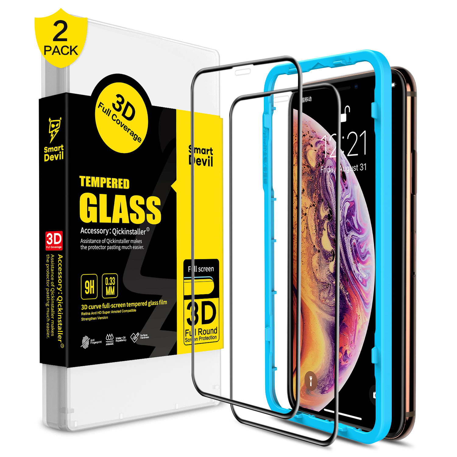 Smart devil 3D Full Cover Tempered Glass Screen Protector For iPhone X XS xr 11 PRO 3D curved Tempered Glass for mobile phone