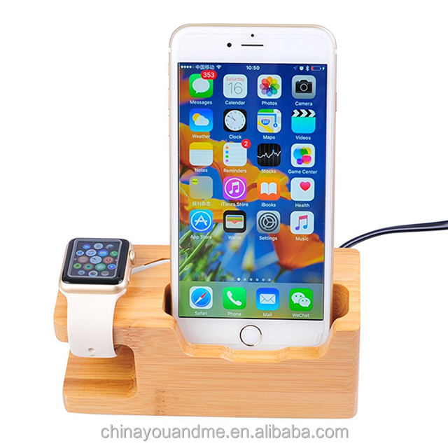 Multifunction charging stand universal wooden dock station for Apple