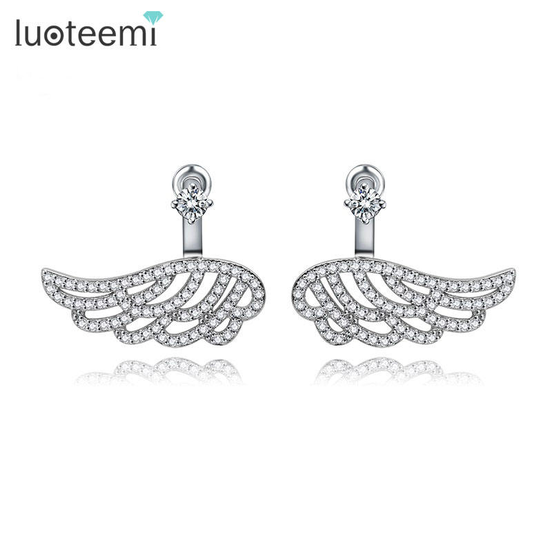 LUOTEEMI 3 Colors Statement Fashion Charm Vintage Ear Jacket Stud Wings Earrings