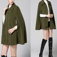 Fashion Green cloak women hood Casual Winter Woolen Coats Womens cloak