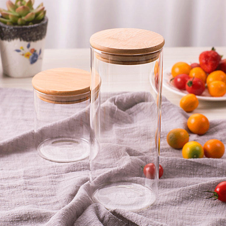 high borosilicate glass spaghetti jar glass jars containers for storage with bamboo wood lid