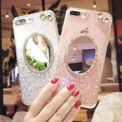 Make Up Mirror Bling Bling Charming Back Cover Phone Case For Iphone 8