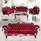 Traditional Style Formal Living Room Cerved Furniture Red Sofa Set Wood Frames