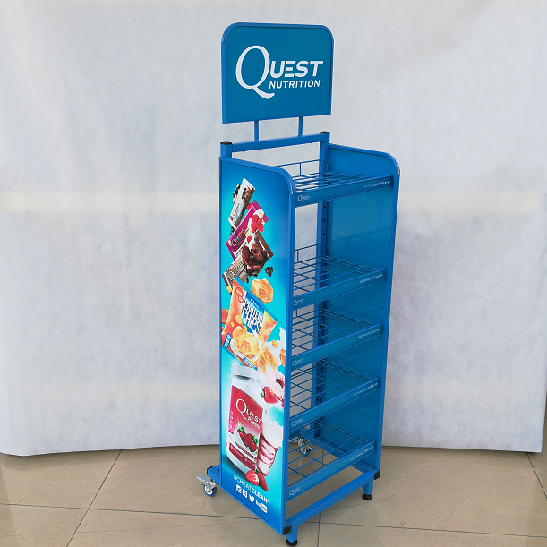 Retail supermarket metal wire mesh potato chips snack food holder display stand for hanging snacks