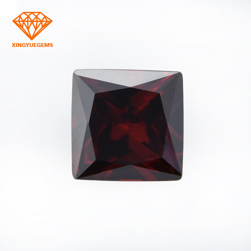 China Best Quality Lab Created Garnet Square Shape Cubic Zirconia Loose Gemstones